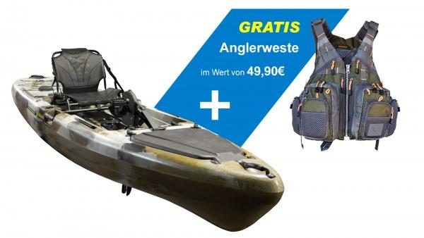 Nordmann® Angelkajak CF13 mit Pedalantrieb Sit on Top