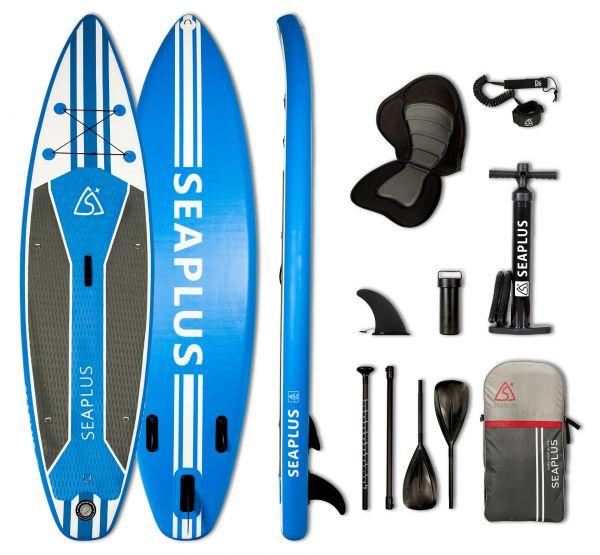 """SEA PLUS Aufblasbares SUP Board LEGEND CLASSIC 10'6"""" inkl. Doppelpaddel, Soft-Sitz und Zubehör"""