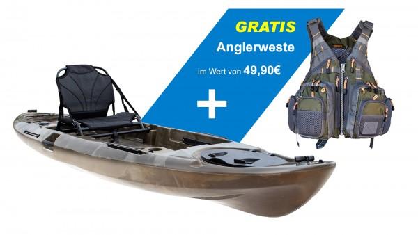 Nordmann® Angelkajak Sit on Top inkl. Komfort-Sitz mit Alurahmen | N-366-L16