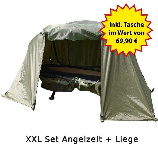 Nordmann® Angelzelt mit Karpfenliege Set XXL