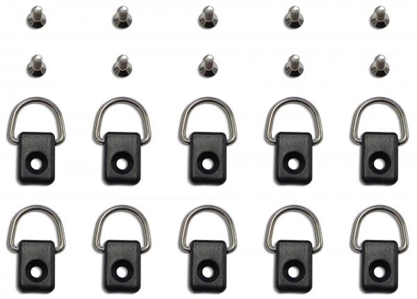 D-Ring inkl. Schrauben M6 Zubehör für Angelkajaks, Kajaks und Kanus | 10-er Pack