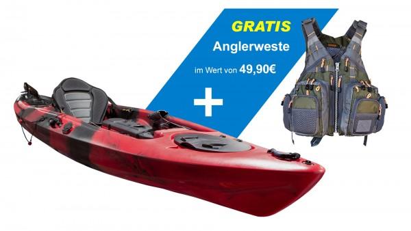 Nordmann® Sit on Top Angelkajak Dragon 14 inkl. Soft Sitz und Rutenhalter